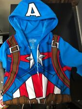 Marvel's Avengers Captain America Boys PJ Pajamas Hoodie Size 10/12 Official New