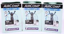 (3) Three Michelin AirComp Ultra-Light 700x18/23 Presta 60mm Road Bicycle Tubes