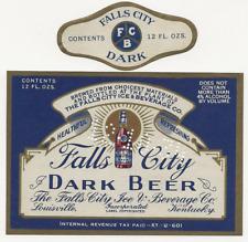 Falls City Dark Beer label with neck Irtp U# Louisville Ky
