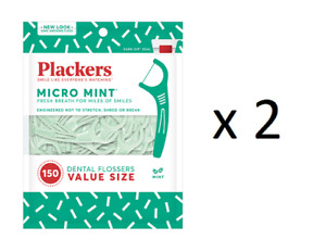 Plackers Micro Mint Dental Flossers, 150 ct (2 Pack)