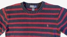 Ralph Lauren Long Sleeve Maroon Navy Striped Pullover Sweater Size XL