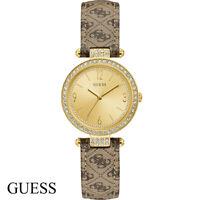 Guess W1230L2 Terrace gold braun Leder Armband Uhr Damen NEU