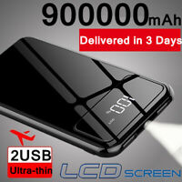 LED Power Bank 900000mAh 2USB External Polymer Battery Charger Portable