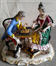 Antique Rudolstadt Porcelain Figurine Playing Chess Pomantic Couple Germany