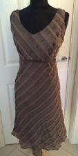 Linen Blend Striped Sleeveless Dresses Midi for Women