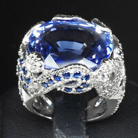 VIOLET BLUE TANZANITE RING 29.70 CT.SAPPHIRE 925 STERLING SILVER JEWELRY SZ 6.25