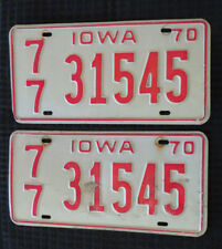 1970 PAIR Iowa License Plates White Red VINTAGE! Crafts! Collectible FREE SHIP!!