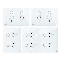 5Pcs Livolo AU Type Touch Light Glass Panel Power Point Wall Socket Switch