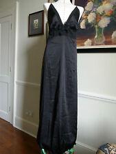 MYLA NANCY Chemise nero 100% pura seta lunga notte vestito/abito da notte taglia L