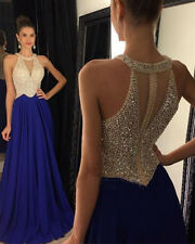 Blue Beaded Long Prom Dresses Pageant Party Chiffon Evening Gown Custom Size