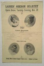 c1890 Original Opera Concert Programme Broadside Poster Ladies Oberon Quartet