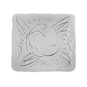 Square Decorative Plate, Handmade Solid Aluminum, Dove Birds Design, 6.7''x6.7''