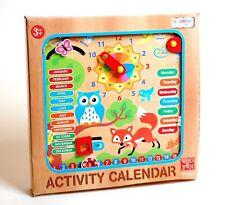 Reloj De Pared calendario de actividad de madera colorido colgante Los Niños Aprendizaje Juguete Divertido