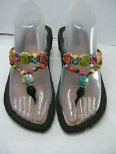 Grandco Womens Flip Flops Size 8 Large Multi colored beads #B