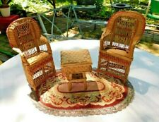 Antique Rattan Doll Size 3 Piece Chairs Table W Vintage Rug