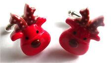 BEAUTIFUL HANDMADE RED RUDOLF REINDEER CUFFLINKS + FREE GIFT BAG