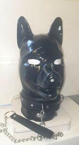 BLACK LATEX PUPPY HOOD RUBBER DOG FETISH BONDAGE MASK + COLLAR CHAIN PET PLAY
