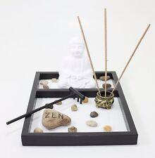 Tabletop Zen Garden White Sand Buddha Rock Rake Incense Burner Home Decor