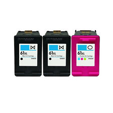 3 Pack 61XL Black & Tri-Color Ink Cartridge for HP Deskjet 22544 3000 3050 3050A