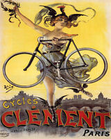 POSTER CYCLES CLEMENT PARIS BICYCLE NIKE VICTORY GODDESS VINTAGE REPRO FREE S/H