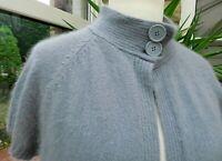 Gorgeous KALIKO 67% Pure Grey Angora Button Neck Short Sleeved Cardigan sz 18