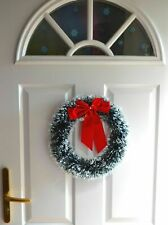 Green Snowy Tinsel Christmas Wreath Xmas Home Party Door Wall Garland Ornaments