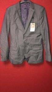 Topman Slim Fit Single Breasted Grey Blazer 38R TD011 EE 01