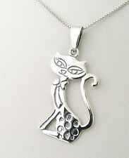 Funky 925 Sterling Silver Posh Cat Pendant with 18 inch silver necklace / chain
