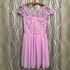 PURPLE PARTY DRESS - Short Chiffon Skirt & Lace - Women's Size Small