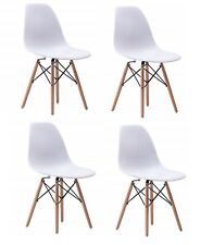 New ListingModern Pre Assembled Dining Chairs Set of 4 Mid Century Lounge Plastic Room