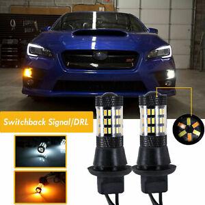 LED Switchback Front Turn Signal DRL Bulbs Direct Fit 2015 - 2019 Subaru WRX STi