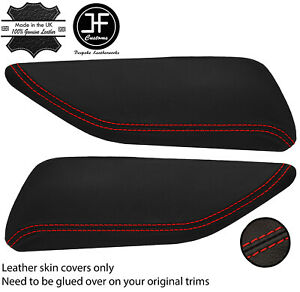 RED STITCH 2X DOOR KNEE REST PAD LEATHER COVERS FOR CHEVROLET CAMARO 16-20