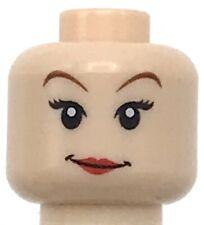 Lego New Light Flesh Minifigure Girl Head Female with Red Lips and Eyelashes