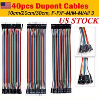 40x Dupont Cables M-F, M-M, F-F Jumper Breadboard Wire GPIO Ribbon Pi Arduino US
