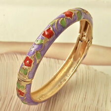 New 9K Yellow Gold Filled Purple w/Red-Green Floral Cloisonne Bangle Bracelet*