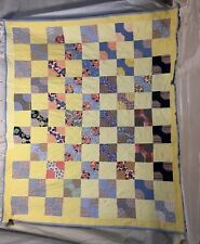 """Vintage Handmade Bow tie Feed Sack Patchwork Quilt 50 Blocks Yellow Blue 86x71"""""""