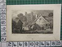 1832 Datierter Antik Aufdruck ~ Rochester Schloss