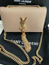 YSL Yves Saint Laurent Classic Chain Crossbody Tassel Beige White Bag