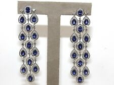 Pear Oval Sapphire & Diamond Cluster Chandelier Earrings 18K White Gold 19.64Ct