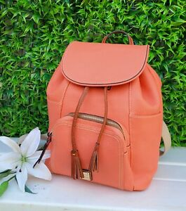 NEW Dooney & Bourke MURPHY leather SALMON Drawstring backpack purse  handbag