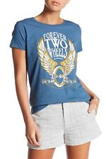 "Women's Lucky Brand Blue Cotton Motorcycle T Shirt  ""Forever Two Wheels"" SZ XL"