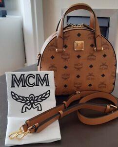 MCM Essential Half Moon Tote Handbag in Original Visetos Leather