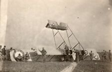France WWI Military Aviation Bomber Caudron G4 Biplane Crash old Photo 1915