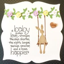 Handmade By Susie Luxury Sweet Bunny Swing New Baby Quote Card Topper