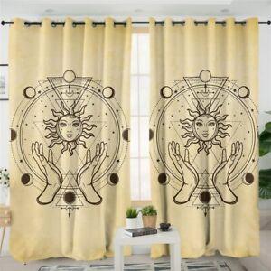 Astrology Sun Yellow God Magic Window Living Room Bedroom Curtains Drapes
