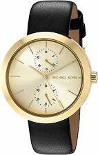 Michael Kors Women's MK2574 Garner Gold-Tone Black Leather 39mm Watch