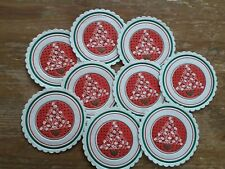 9 Vintage Christmas Paper Coasters Holly Tree Design