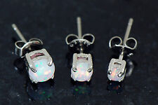 3 Pc 316L Surgical Steel White Color Opal Triple Earrings Ear Studs 3mm 4mm 5mm