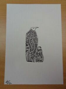 """""""Emperor Penguin & Chick"""" Original Art SIGNED Lucas Austin, Abstract Ink Drawing"""