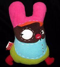 "Pooki Land Mina Plush Soft Toy Fleece Pink Green France Pookiland Stuffed 10"""